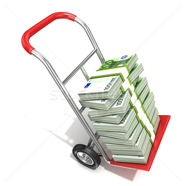 Hand truck with stacks of hundreds euros isolated on white backg Stock photo © djmilic