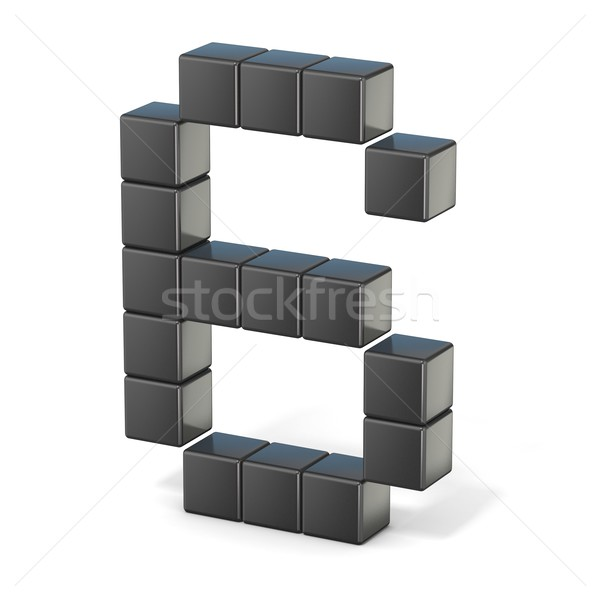 8 bit font. Number 6. 3D Stock photo © djmilic