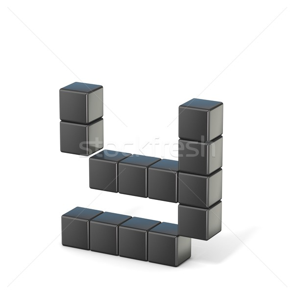 8 bit font. Lowercase letter Y. 3D Stock photo © djmilic