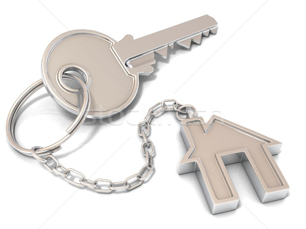 Stock photo: House door key and house key-chain