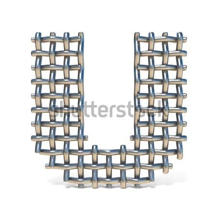 Metal lattice font letter W 3D Stock photo © djmilic
