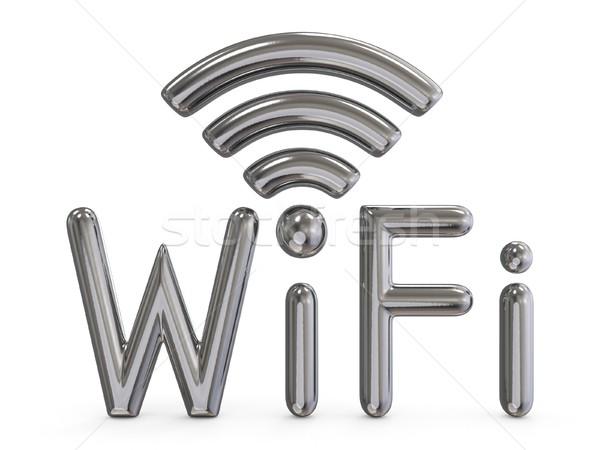 Metal grey WiFi sign 3D Stock photo © djmilic