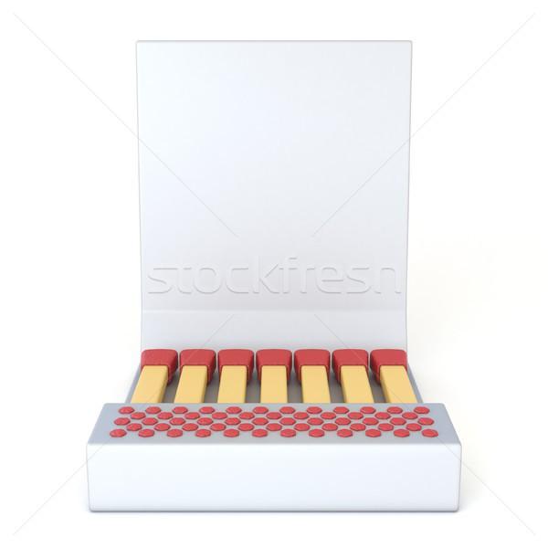 White cardboard matcbook Front view 3D Stock photo © djmilic