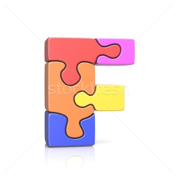 Puzzle jigsaw letter F 3D Stock photo © djmilic