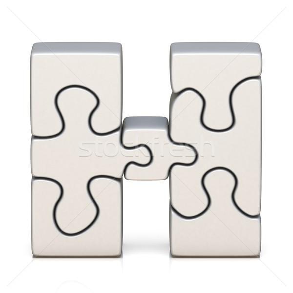 Blanche puzzle lettre h 3D rendu 3d Photo stock © djmilic