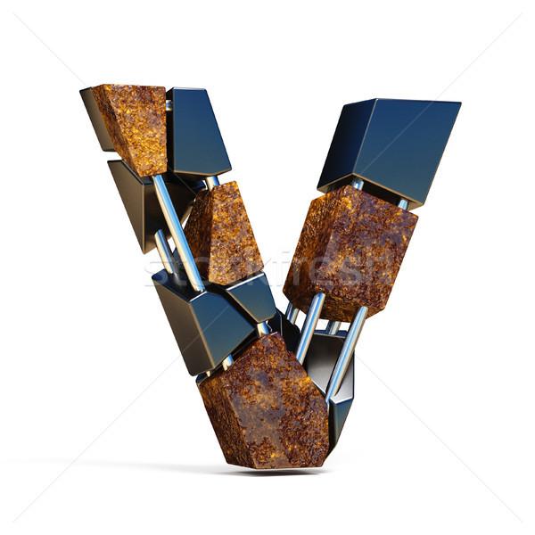 Black brown fracture font LETTER V 3D Stock photo © djmilic