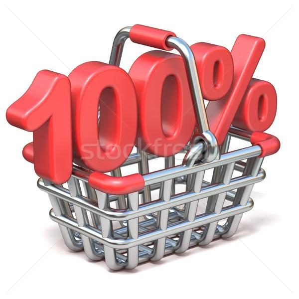 Metal shopping basket 100 PERCENT sign 3D Stock photo © djmilic