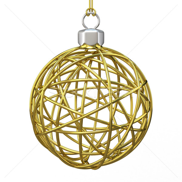 Gold Christmas wire ball. 3D Stock photo © djmilic