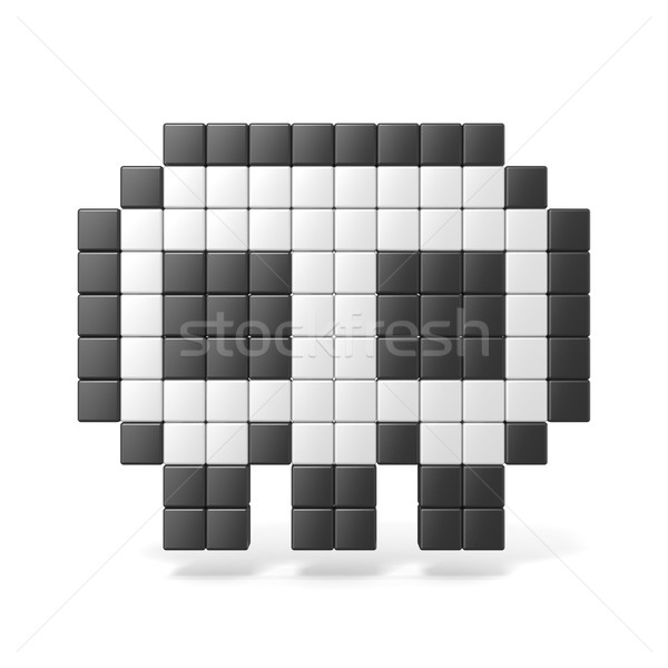 Pixelated 8bit skull icon. Front view. 3D Stock photo © djmilic