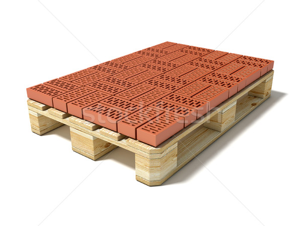 Euro pallet with one row of ceramic bricks. 3D Stock photo © djmilic