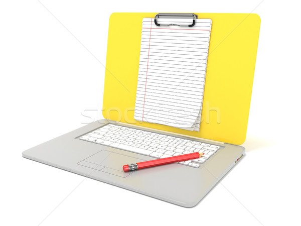 Blank clipboard lined paper on laptop. Side view. 3D Stock photo © djmilic