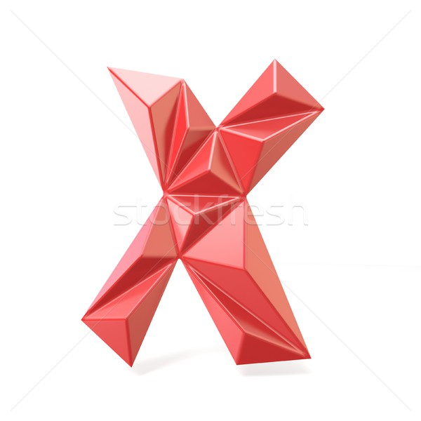 Red modern triangular font letter X. 3D Stock photo © djmilic