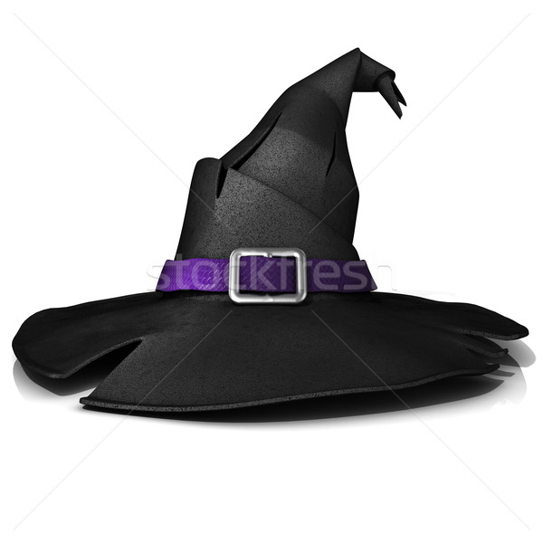 Halloween, witch hat. Black hat with purple belt Stock photo © djmilic