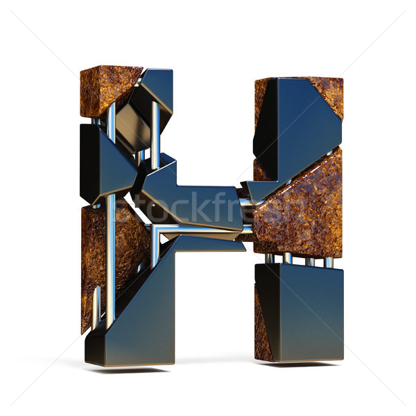 Black brown fracture font LETTER H 3D Stock photo © djmilic