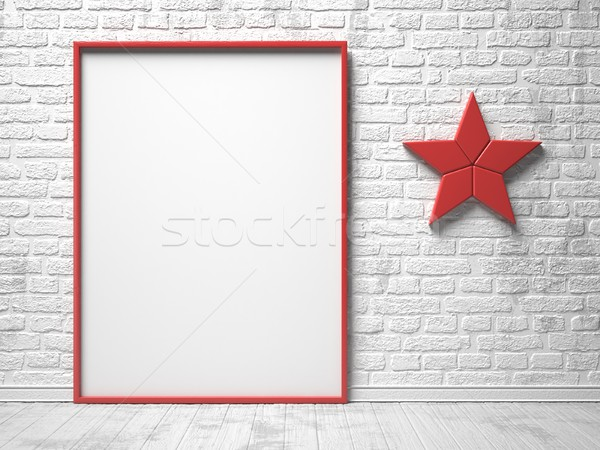 Mock-up red canvas frame, red star decor and brick wall. 3D Stock photo © djmilic