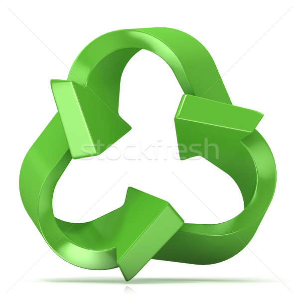 Green recycle sign, three arrows Stock photo © djmilic