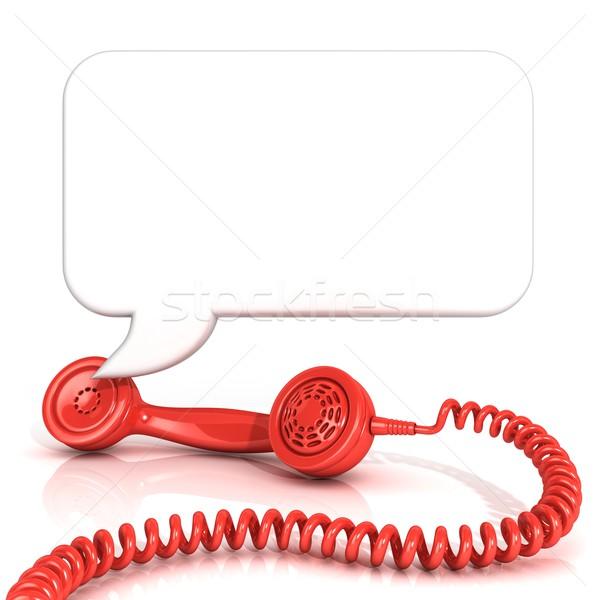 Piros öreg divat telefon szövegbuborék izolált Stock fotó © djmilic