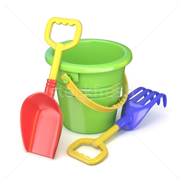Toy bucket, rake and spade. 3D Stock photo © djmilic