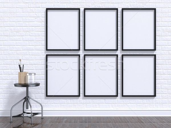 Mock up photo frame with table, floor and wall. 3D Stock photo © djmilic