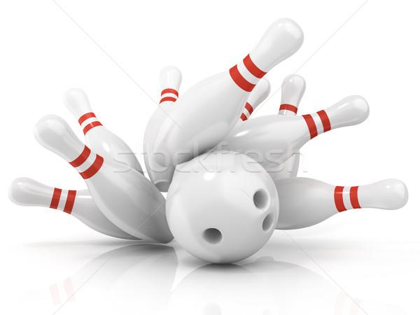 Bowling ball pin odizolowany biały sportu grupy Zdjęcia stock © djmilic