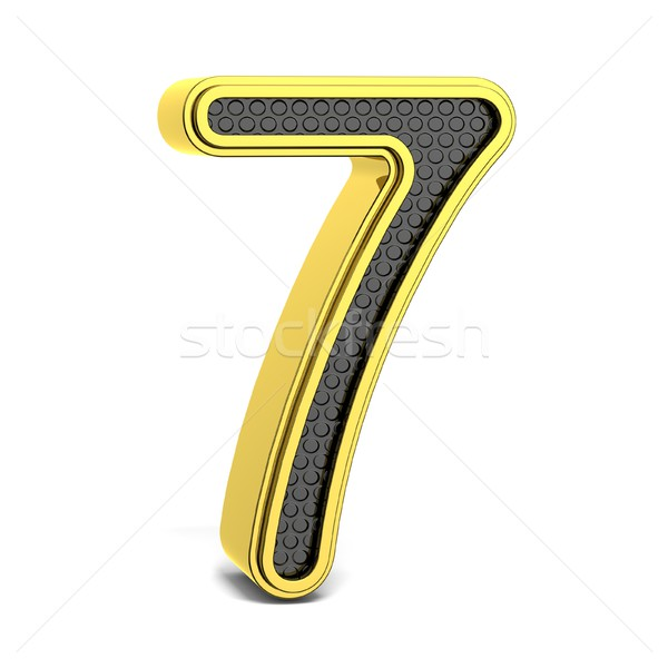 Golden and black round font. Number 7. 3D Stock photo © djmilic