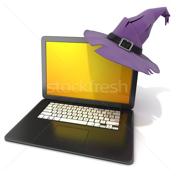 3D Open zwarte laptop halloween Stockfoto © djmilic