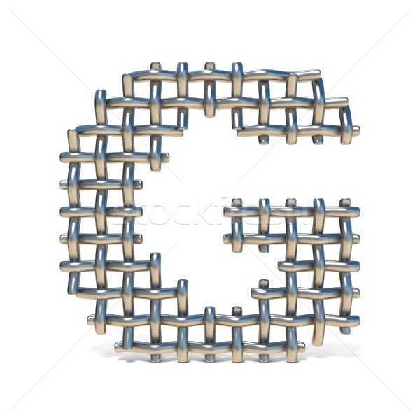 Metal wire mesh font LETTER G 3D Stock photo © djmilic
