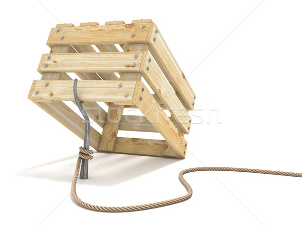 Trap made of wooden crate and rope tide to stick 3D Stock photo © djmilic