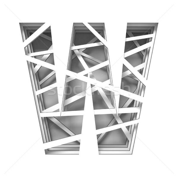 Papír kivágás betűtípus w betű 3D 3d render illusztráció Stock fotó © djmilic