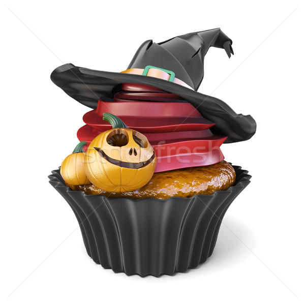 Stock photo: Halloween muffin with Jack O'Lantern and witch hat 3D