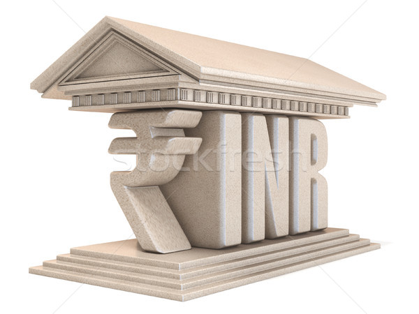 Indian Rupee INR currency sign temple 3D Stock photo © djmilic