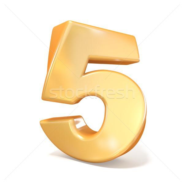 оранжевый шрифт числа пять 3D 3d визуализации Сток-фото © djmilic