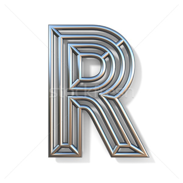 Wire outline font letter R 3D Stock photo © djmilic