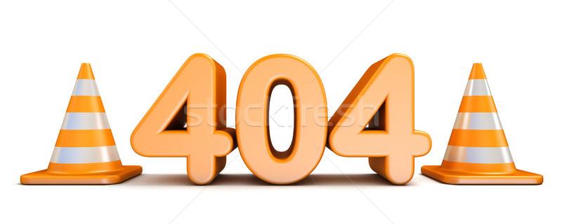 404 error and traffic cones 3D rendering illustration on white b Stock photo © djmilic