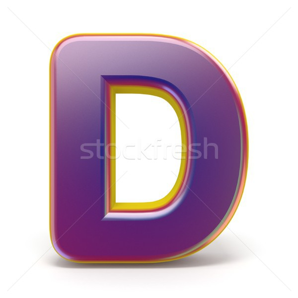 Letter D purple font yellow outlined 3D Stock photo © djmilic