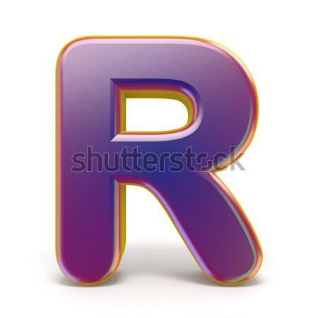 Letter R purple font yellow outlined 3D Stock photo © djmilic