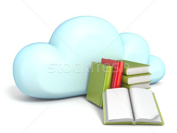 Chmura icon książek 3D odizolowany biały Zdjęcia stock © djmilic