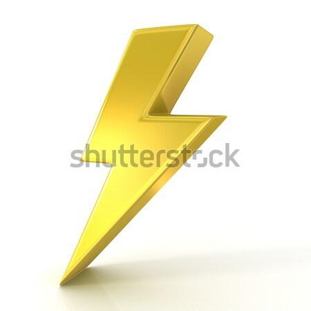 Relâmpago símbolo 3D dourado assinar isolado Foto stock © djmilic