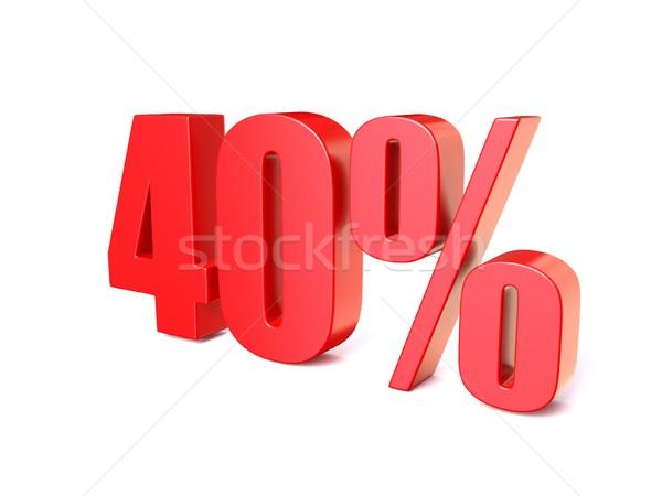 Rot Prozentsatz Zeichen 40 3D 3d render Stock foto © djmilic