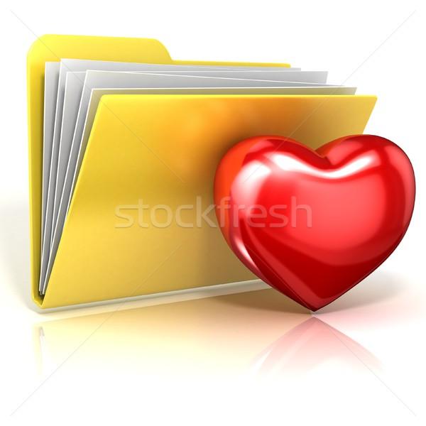 Ulubione serca folderze ikona 3D 3d Zdjęcia stock © djmilic