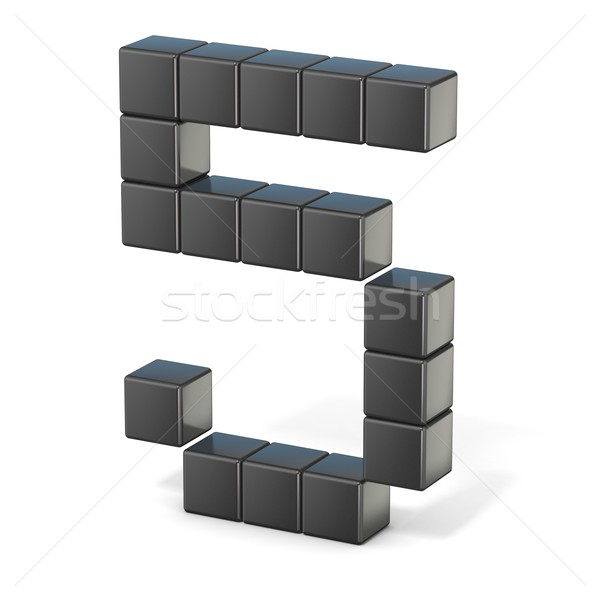 8 bit font. Number 5. 3D Stock photo © djmilic