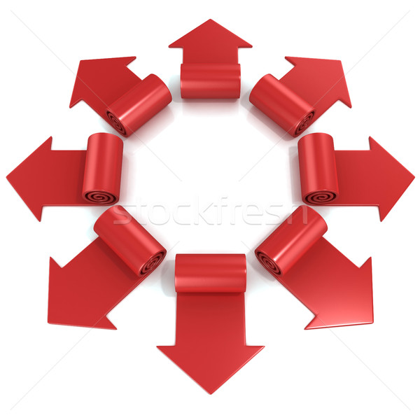 Red spiral arrows directed of the center Stock photo © djmilic