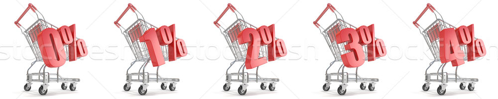 0%, 1%, 2%, 3%, 4%  percent discount in front of shopping cart.  Stock photo © djmilic