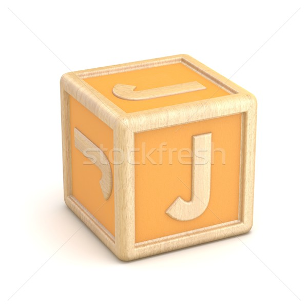 Letter J wooden alphabet blocks font rotated. 3D Stock photo © djmilic