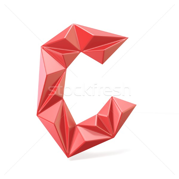 Red modern triangular font letter C. 3D Stock photo © djmilic