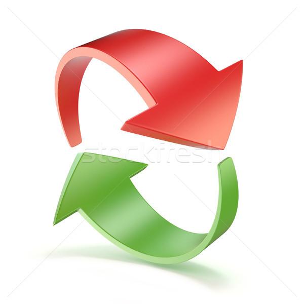 Сток-фото: красный · зеленый · Стрелки · круга · 3D · 3d · визуализации