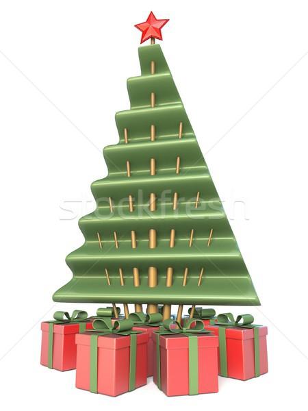 Stockfoto: Abstract · kerstboom · geschenken · 3D · 3d · render · illustratie
