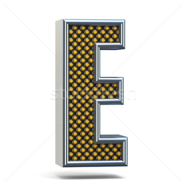 Chrome metal orange dotted font Letter E 3D Stock photo © djmilic