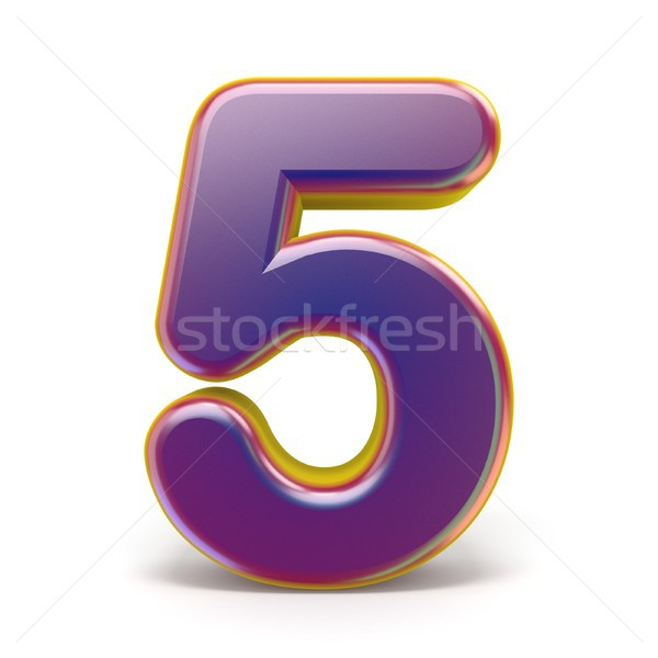 Number FIVE 5 purple font yellow outlined 3D Stock photo © djmilic