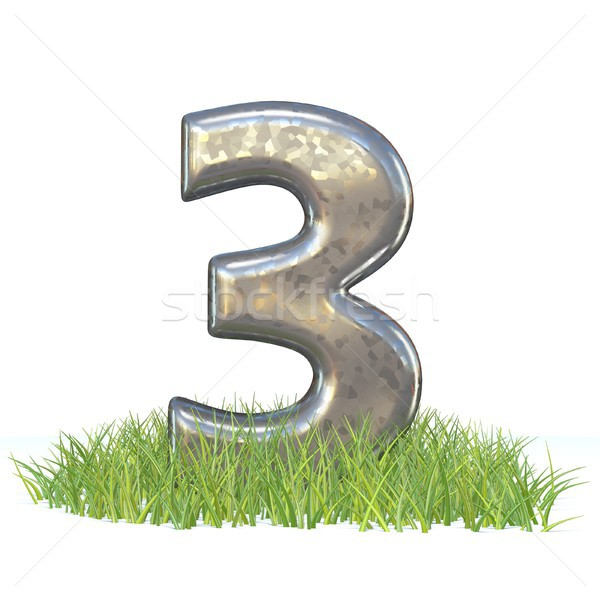 Galvanized metal font Number THREE 3 in grass 3D Stock photo © djmilic